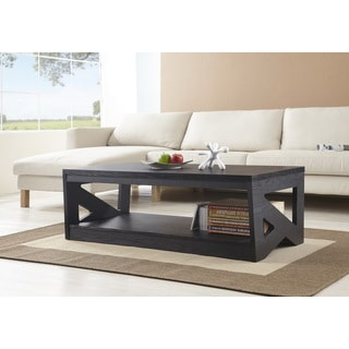 Furniture of America Hotchner Contemporary Black Open Storage Coffee Table