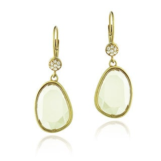 Glitzy Rocks 18k Gold over Silver Free-form Lemon Quartz and Topaz Earrings