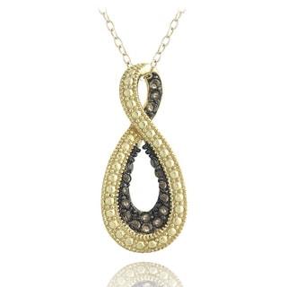 Glitzy Rocks 18k Gold Over Silver Smoky Quartz Infinity Necklace