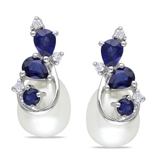 Miadora 10k White Gold Cultured Freshwater Pearl, Sapphire and Diamond Earrings