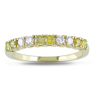Miadora 14k Yellow Gold 1/2ct TDW Yellow and White Diamond Anniversary Ring
