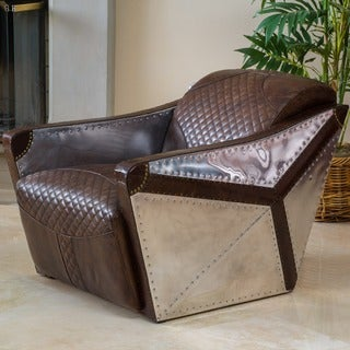 Christopher Knight Home Jetta Brown Leather and Metal Club Chair