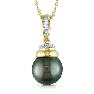Miadora 14k Yellow Gold Tahitian Black Pearl and Diamond Necklace (10-11 mm)