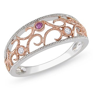 Miadora 10k Two-tone Gold White Diamond Ring