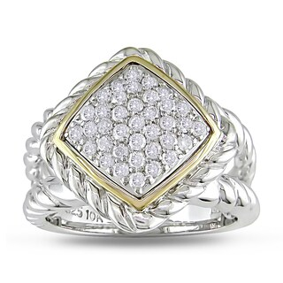 Miadora 14k Yellow Gold and Sterling Silver 1/2ct TDW Diamond Ring (H-I, I2-I3)