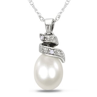 Miadora 10k White Gold Freshwater White Pearl and Diamond Necklace (6.5-7 mm)