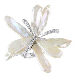 Miadora Sterling Silver Keshi Pearl and White Topaz Flower Ring