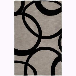 Graffix Circles Hand-Tufted Grey Rug (5'0 x 7'9)