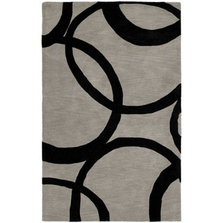 Graffix Circles Hand-Tufted Grey Rug (9'6 x 13')