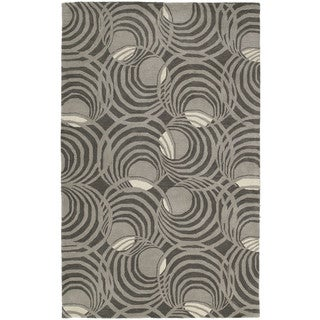 Graffix Spiral Hand-Tufted Grey Rug (3'0 x 5'0)