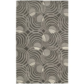 Graffix Spiral Hand-Tufted Grey Rug (9'6 x 13')