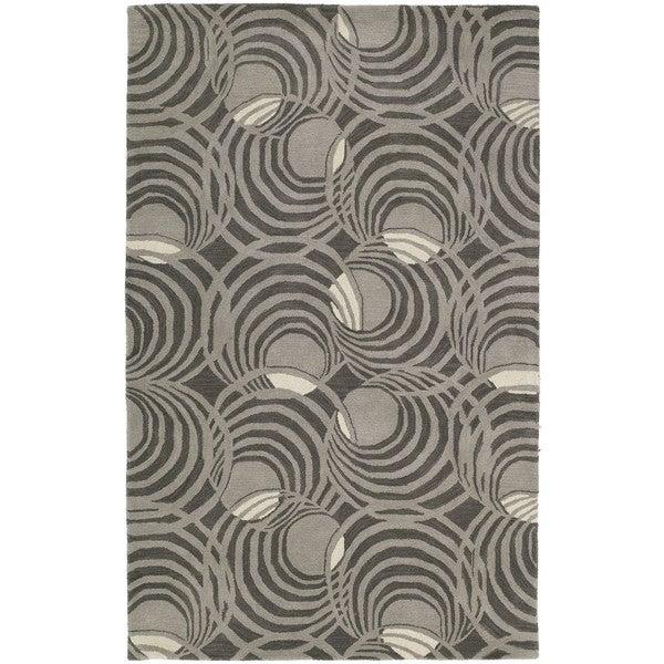 Graffix Spiral Hand-Tufted Grey Rug (9'6 x 13')