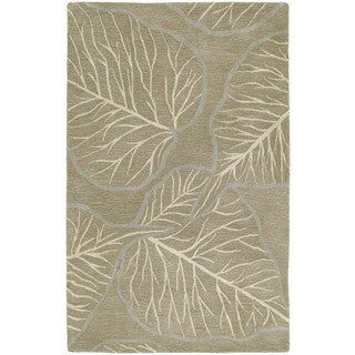 Graffix Leaves Hand-Tufted Brown Rug (5'0 x 7'9)