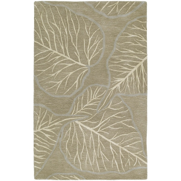 Graffix Leaves Hand-Tufted Brown Rug (3'0 x 5'0)
