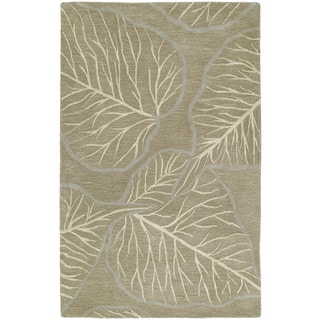 Graffix Leaves Hand-Tufted Brown Rug (9'6 x 13')
