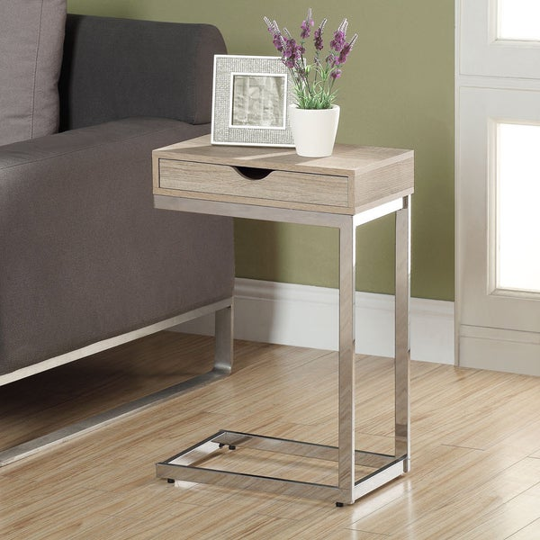 Natural Reclaimed-look Chrome Metal Accent Table