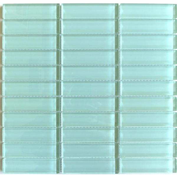 lush surf sea foam green 1 x 4 inch glass tile pack of 10 15610368