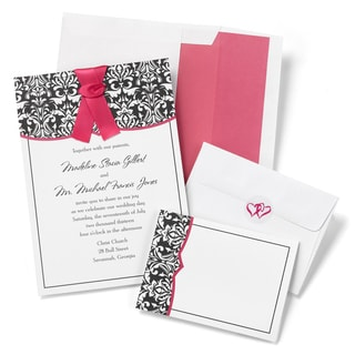 Classic Damask Fuchsia Invitation Kit