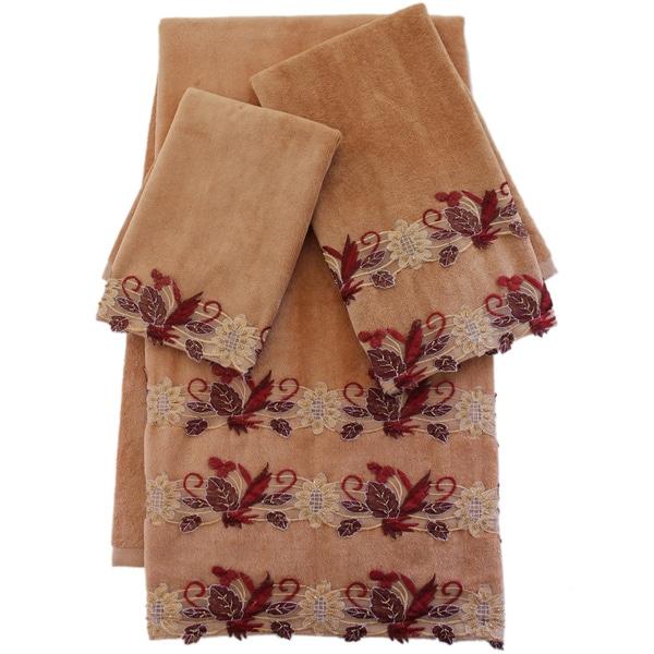 Sherry Kline Romantica Lace Gold Embellished 3-piece Towel Set