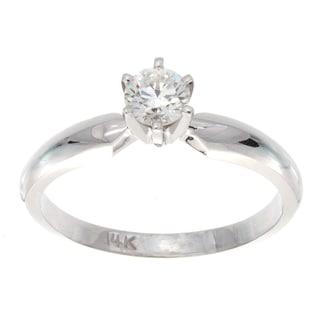 Victoria Kay 14k White Gold 1/3ct TDW Diamond Solitaire Engagement Ring (F-G, VS1-VS2)