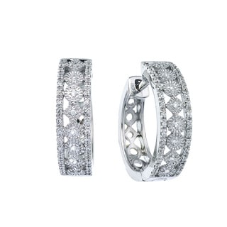 Sterling Silver 1/4ct TDW Diamond Hoop Earrings (H-I, I2-I3)
