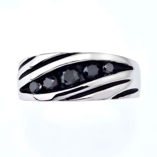 Sterling Silver Men's 4/5ct TDW Black Diamond Band