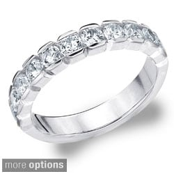 14k Gold 1ct TDW Machine-set Round Diamond Eternity Band (H-I, I1-I2)