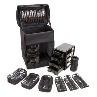 Seya Professional Rolling Makeup Case and Removable Makeup Bags