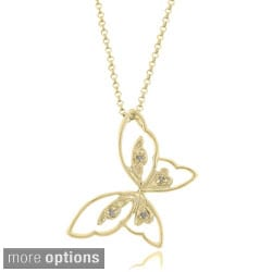 Pretty Plus Sterling Silver Diamond Butterfly Necklace
