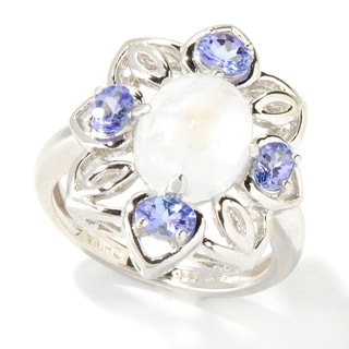 Sterling Silver Rainbow Moonstone Cabochon and Tanzanite Ring