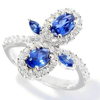 Platinum over Silver Blue and White Cubic Zirconia Flower Ring