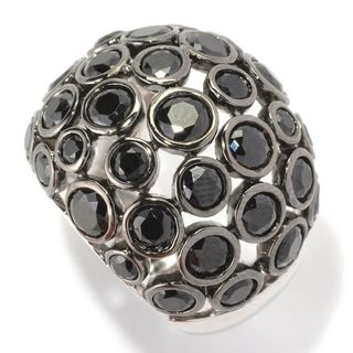 Sterling Silver 6 2/5ctw Bezel-set Black Spinel Domed Bubble Ring