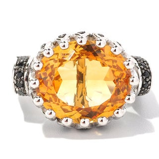 Sterling Silver 9 3/5ct TGW Citrine and Black Spinel Ring