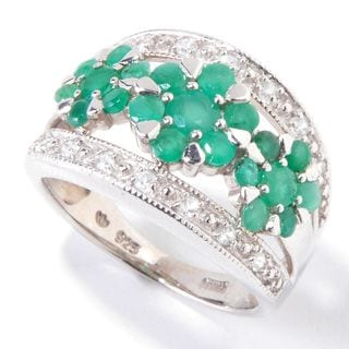 Platinum plated Sterling Silver 2.41 TCW Emerald & White Zircon Flower Ring