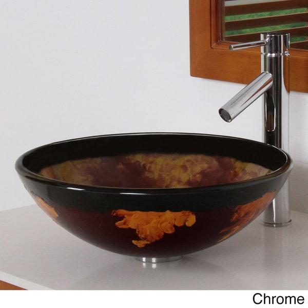ELITE 70142659 Modern Design Tempered Glass Bathroom Vessel Sink With Faucet Combo