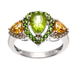 Sterling Silver Peridot, Chrome Diopside, Citrine and Zircon Ring