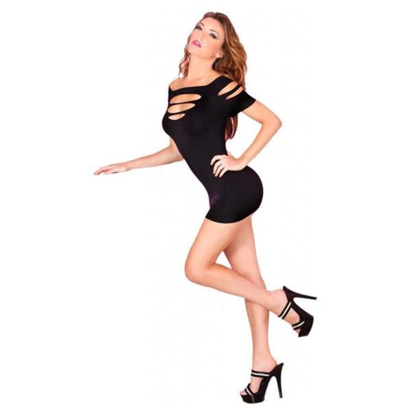Pink Lipstick Black Cut Out Seamless Mini Dress