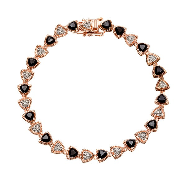 18k Rose Gold over Silver Black Spinel and White Zircon Tennis Bracelet