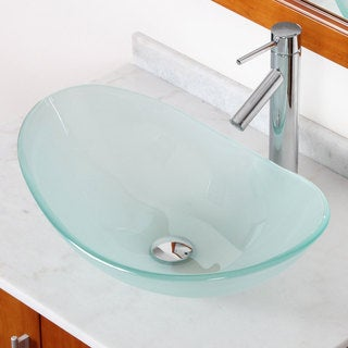ELITE GD33F2659C Tempered Bathroom Glass Vessel Sink W. Unique Oval Shape With Faucet Combo