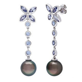 D'sire 10k White Gold Tahitian Pearl and Tanzanite Earrings (9-10 mm)