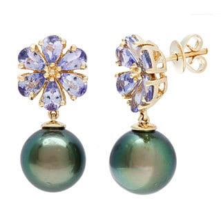 D'sire 10k Yellow Gold Tahitian Pearl and Tanzanite Earrings (9-10 mm)