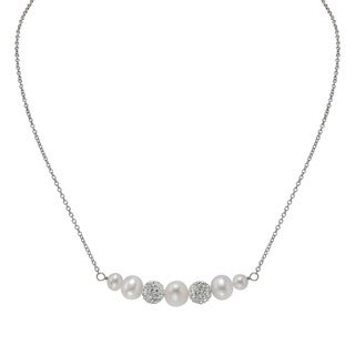 Pearlyta Silver White FW Pearl and Crystal Ball Necklace (5-8 mm)