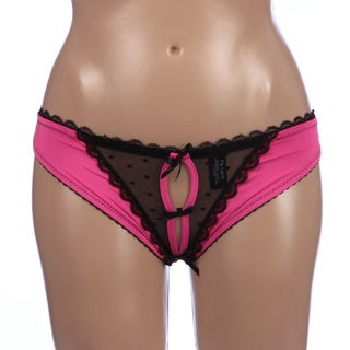 Rene Rofe Crotchless Pink Frills Panty with Back Bows