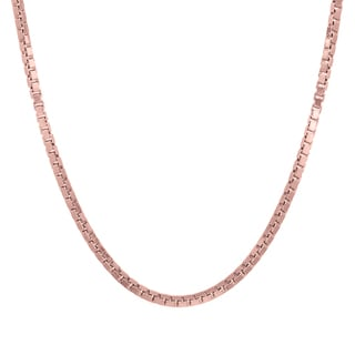 Sterling Essentials 14k Rose Gold over Silver Box Chain