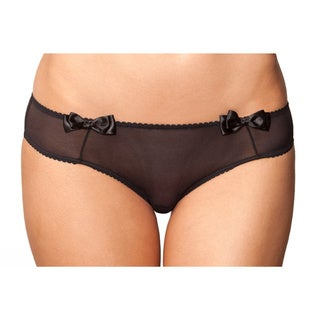 Rene Rofe Black Mesh Cheeky Scalloped Edge Front Bow Panties