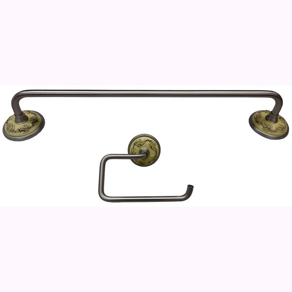 Ivory Amp Brushed Nickel 2 Piece Bath Accessory Set