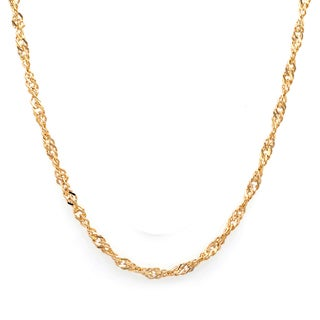 Sterling Essentials 14k Yellow Gold Plated Silver Singapore Chain