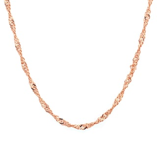 Sterling Essentials 14k Rose Gold over Silver Singapore Chain