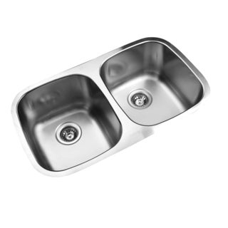 Ukinox D345.50.50.9 50/50 Double Basin Stainless Steel Undermount Kitchen Sink