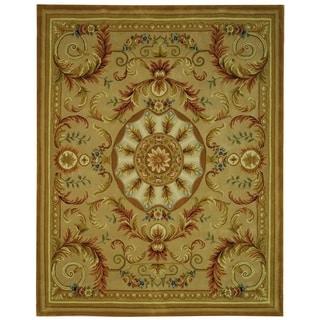 Safavieh Hand-made Savonnerie Beige/ Gold Wool Rug (8' x 10')